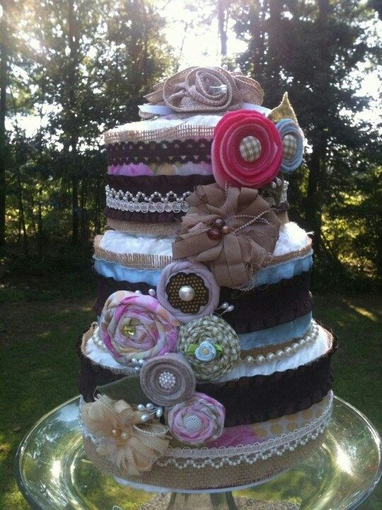 Shabby Chic diaper cake, baby shower, little girl, country, lace, burlap, pearls