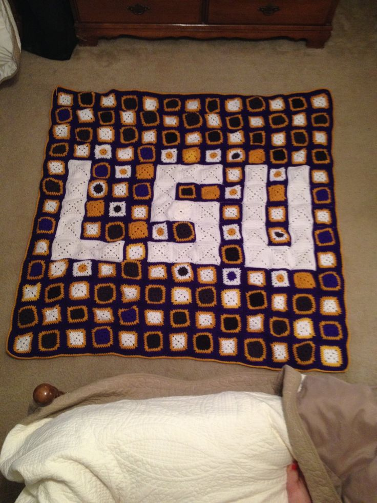 LSU Quilt Unique Handmade Crochet Blanket by MegsCrochetCraft