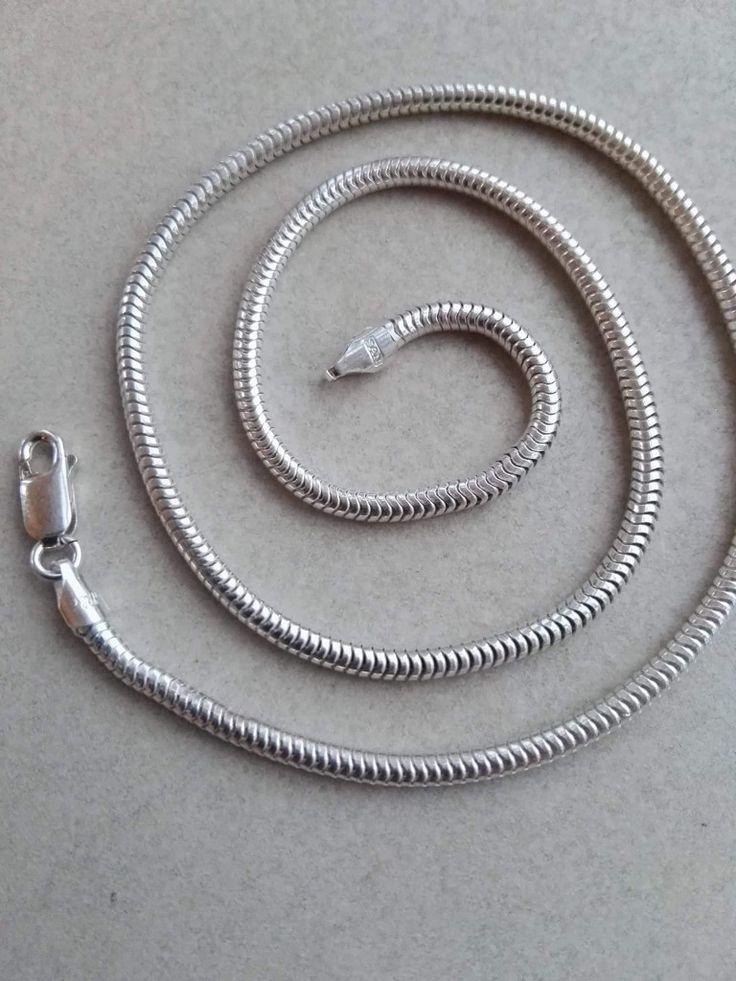 Slangekæde i sølv 3mm. 42cm: 450 kr 45cm: 475 kr