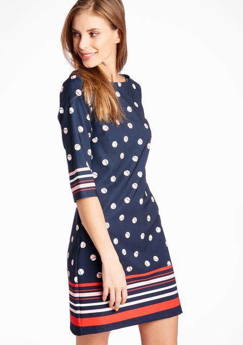 Geprinte jurk met boothals en 3/4 mouwen - NAVY INK - 08004824_1684
