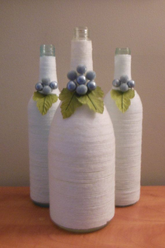 White Wine Bottles Upcycled Wine Bottles by ReginesPartyBoutique
