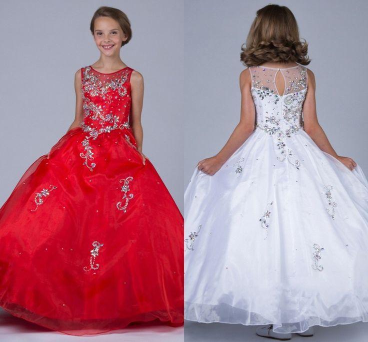 Rojo 2015 vestidos del desfile para niñas con cuentas Vestido De bola del tanque sin mangas Vestido De Daminha largo flor Vestido De la muchacha encantadora(China (Mainland))