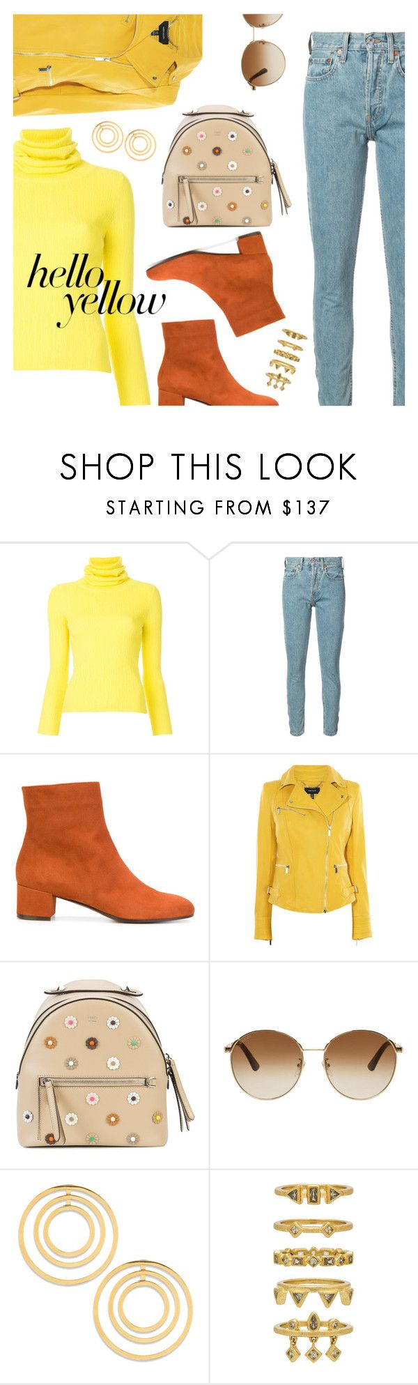 """""""Get Happy: Pops of Yellow"""" by dressedbyrose ❤ liked on Polyvore featuring Simon Miller, RE/DONE, L'Autre Chose, Karen Millen, Fendi, Gucci, Lele Sadoughi, Luv Aj, PopsOfYellow and NYFWYellow"""