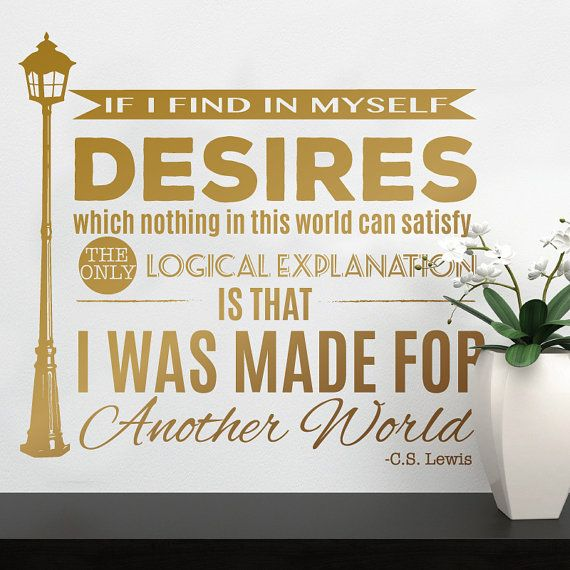 Made For Another World - C.S. Lewis Quote with Narnia Lamp Post - Wall Decal Custom Vinyl Art Stickers for Libraries, Kids Rooms, Classrooms