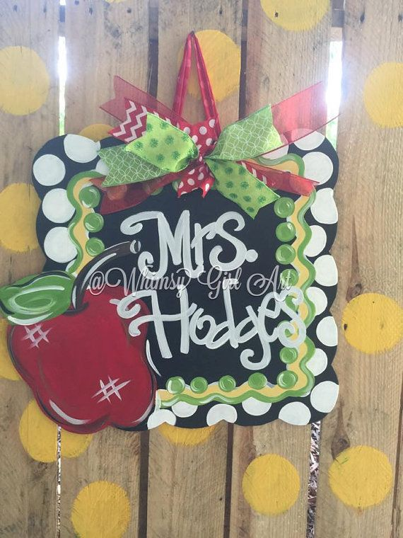 Back to School Teacher Chalkboard Door Hanger by WhimsyGirlArt