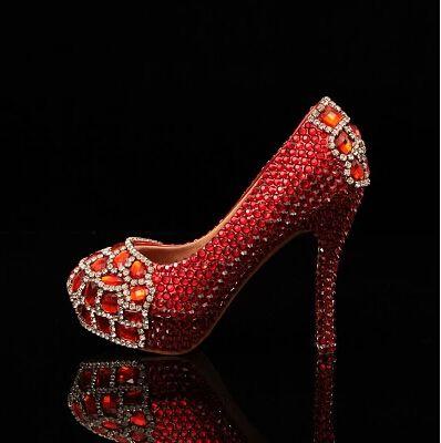 2016 Бесплатная доставка Круглый Носок кристалл алмаза красные туфли на высоком каблуке обувь Производительность обувь свадебная обувь Свадебные Туфли