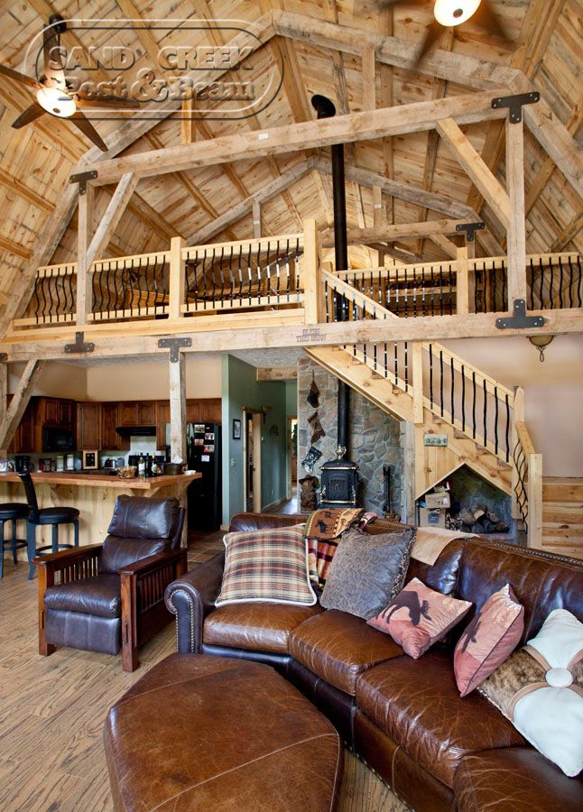 Incredible living/loft are in a Sand Creek Post & Beam Barn Home