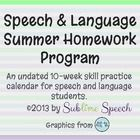 This is a comprehensive 10-week summer homework program for speech and language students.      It includes:  2 full-color calendars, spanning 5-weeks ...