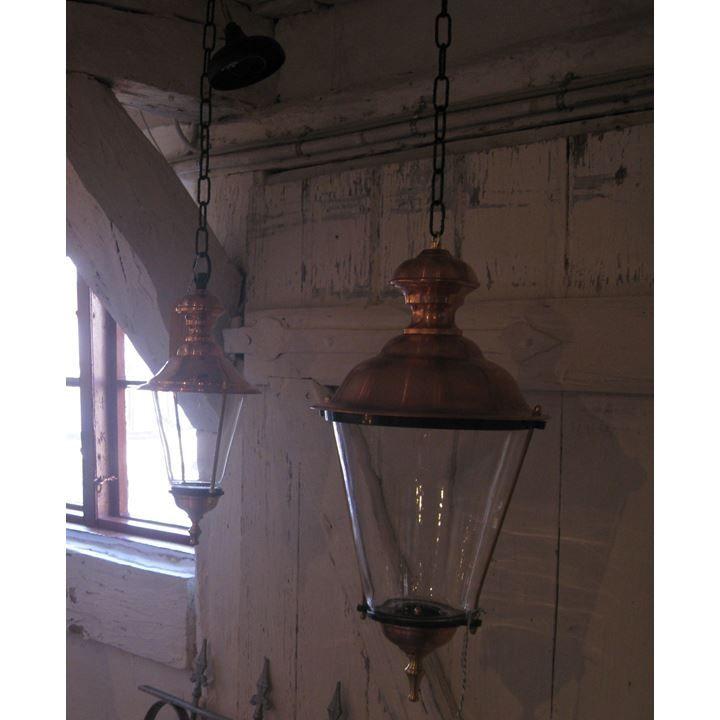 K4 kobberlampe hængende i kæde, 54 cm Uden kroner - Standard (Mørkegrøn) - Standard (Plexiglas)
