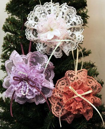 Easy Christmas Crafts Lace Flower Ornament three ornaments hanging on the tree