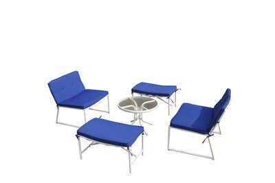 Bestsign International BS8013WTBL 5 Piece Della Patio Conversation Set with Blue Cushion. All-weather chair cushion covers repel water and moisture. Tabletop made of tempered glass for added safetySpecifications. Model: Della. Color: Blue. Package Quantity: 5.