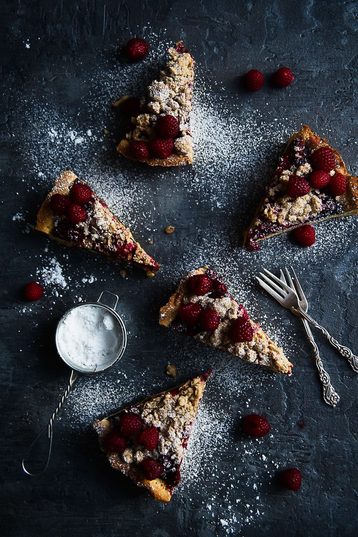 picante-jalapeno.blogspot.com: Kruche ciasto z malinami, kremem czekoladowym i owsianą kruszonką