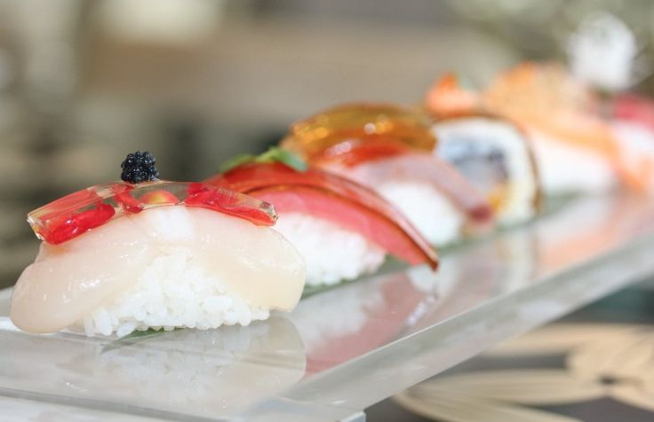 "The chefs at Hong Kong's Shiro restaurant have used innovative techniques to create ""crystal""  sushi. Flavors like sake, aji sauce and even rose petals have been infused into jelly, which are paired and balanced over the various options in Shiro's nigiri collection."