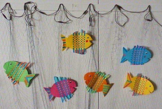 Anna idean kiertää!: Oppilaiden askartelemia kaloja