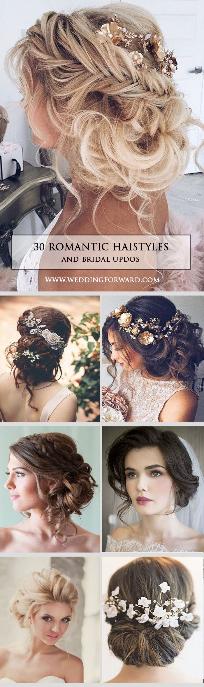 30 Most Romantic Bridal Updos ❤ Wedding Hairstyles ? Whether you are looking for a long hairstyle, half up half down or bun style, we are sure to have something for you. See more: http://www.weddingforward.com/romantic-bridal-updos-wedding-hairstyles/ #we