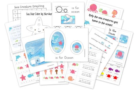 """Lots of fun ocean-themed printables with cute, high-quality illustrations (though, as they say, they're all a bit girly) to work on all kinds of skills: colors, tracing, numbers, letters, matching...  """"In the {girly} Sea Preschool Free Printables"""""""