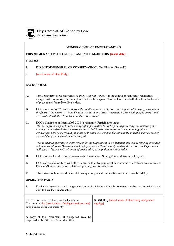 Mou Sample - Invitation Templates - Memorandum Of Understanding