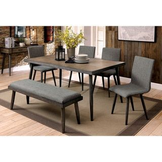 Furniture of America Bradensbrook Mid-Century Modern Industrial Style Metal 64-inch Dining Table | Overstock.com Shopping - The Best Deals on Dining Tables