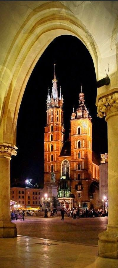 Krakow, Poland. From the cloth hall, looking across the city square to St Mary's Basilica