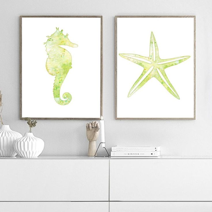 Starfish - Sea Life Nursery Art Print Starfish print - right artwork on the interior photo. Our lovely yellow/green starfish print is great addition to any kitchens or dining rooms, you can even put him in the bathroom! Start your Gallery Wall with this and add a few more from our kitchen/ dining Category. Please note our framed prints DO NOT Include a white border / mount / mat        around the image.  We use Premium Quality Inkjet Heavyweight Satin Paper which gives a sharp, crisp, clear…