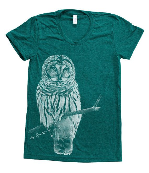 Owl Shirt Women Custom Hand Screen Printed on American Apparel Tri-Blend Short Sleeve Tshirt Available: S, M, L, XL on Etsy, $20.00