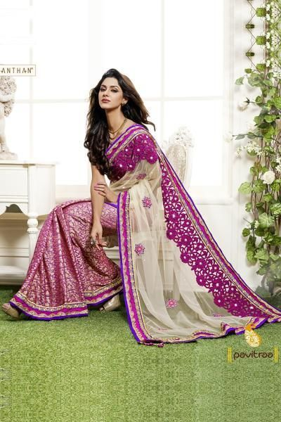 Pavitraa Ethenic Fusion Cut Worked Saree made From Shimmer and