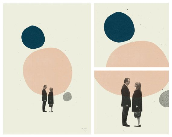 LOVE IN THE ABSTRACT - Lost in Translation Art Print Movie Poster Series - Minimalist, Mid-Century Modern Design  This is a beautiful series of three 12 x 18 art prints, printed on thick uncoated French Paper Company Construction Whitewash 100 lb cover stock. Film about love composed with abstract mid-century forms. A must have for all romantic comedy fans and graphic design nerds! Great for any room - from the office to the nursery.  This is a signed limited edition designed by Concepción…