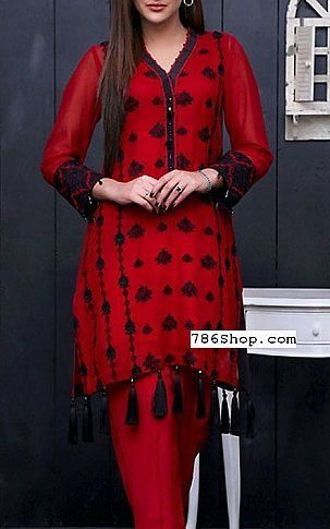 Red Cotton Net Suit (2 Pcs) | Buy Motifz Pakistani Dresses and Clothing online in USA, UK