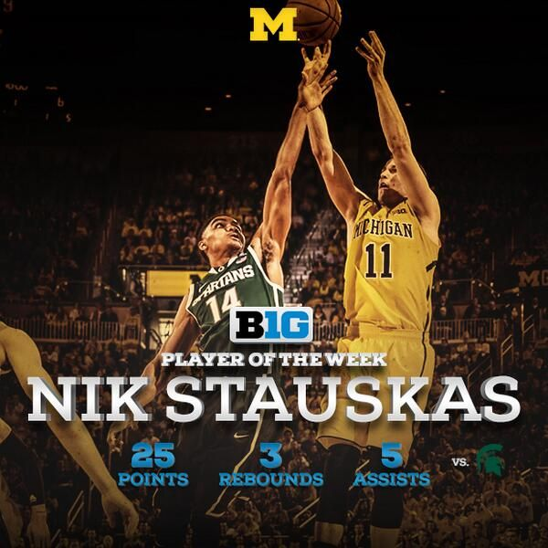 Michigan Basketball's Nik Stauskas was named Big Ten Player for his 25-point effort against Michigan State