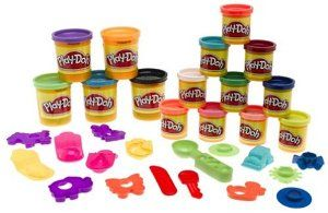 Playdough Mountain of Colors Super Set by Hasbro. $14.99. Over 15 cutters and accessories. Imagination takes shape. 15 cans of play-doh compound. For ages 3+ years. The Play-Doh Mountain of Colors set includes a whopping 15 cans (10 two-ounce cans and 5 five-ounce cans) of Play-Doh compound and lots of accessories. Your child can play for hours with so many colors and tools, they can make all kinds of exciting, imaginative creations!The Play Doh brand is proud to cele...