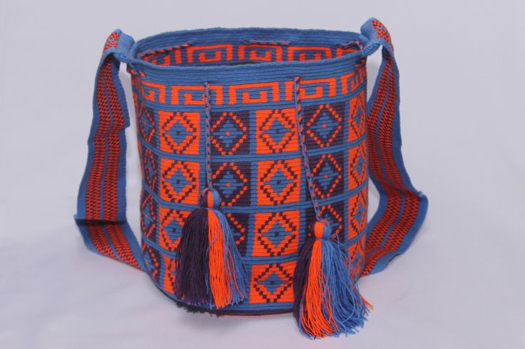 Hand-Woven Artesinal Colombian Wayuu Bag (Steel-Blue/Orange-Red/Indigo) - Bacano Bags and Hats