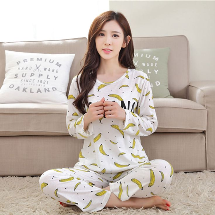 2017 home service women spring and autumn long-sleeved pants banana loose pajamas female cute suit