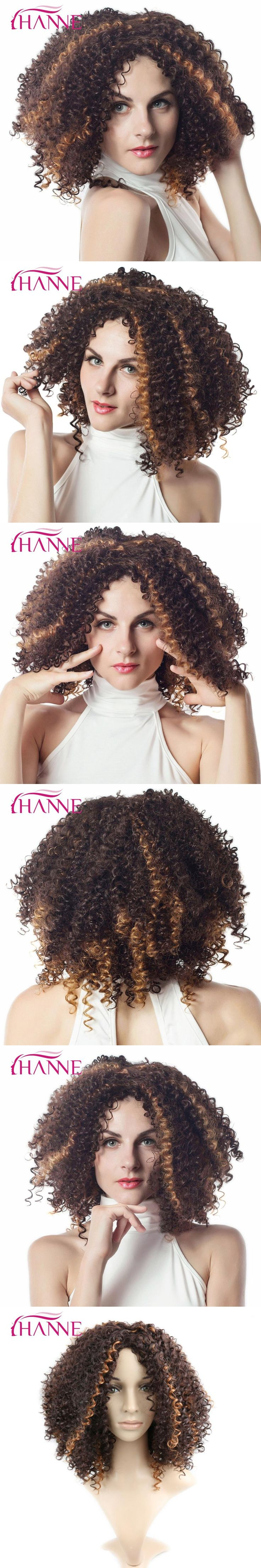 HANNE Medium Length Kinky Curly Mix Brown And Blonde Hign Temperature Synthetic Fiber Wigs for Black Women African American Wig