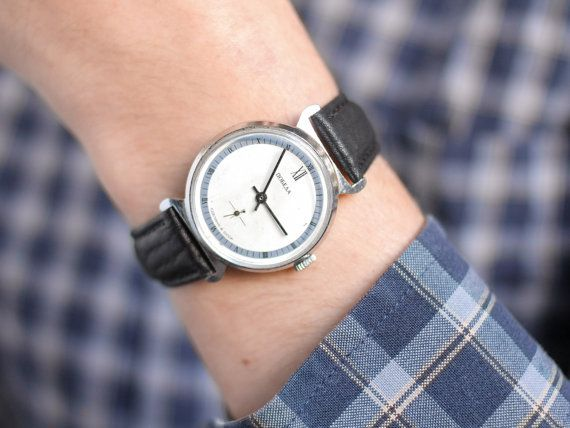 Minimalist men's watch Pobeda  soviet wrist watch by somesoviet