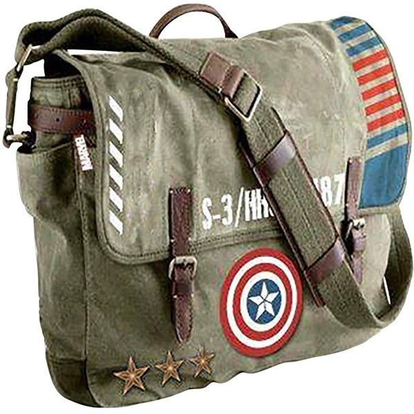 Marvel Marvel Captain America Vintage Army Messenger Bag ($67) ❤ liked on Polyvore featuring bags, messenger bags, strap bag, marvel bag, pocket bag and vintage bags