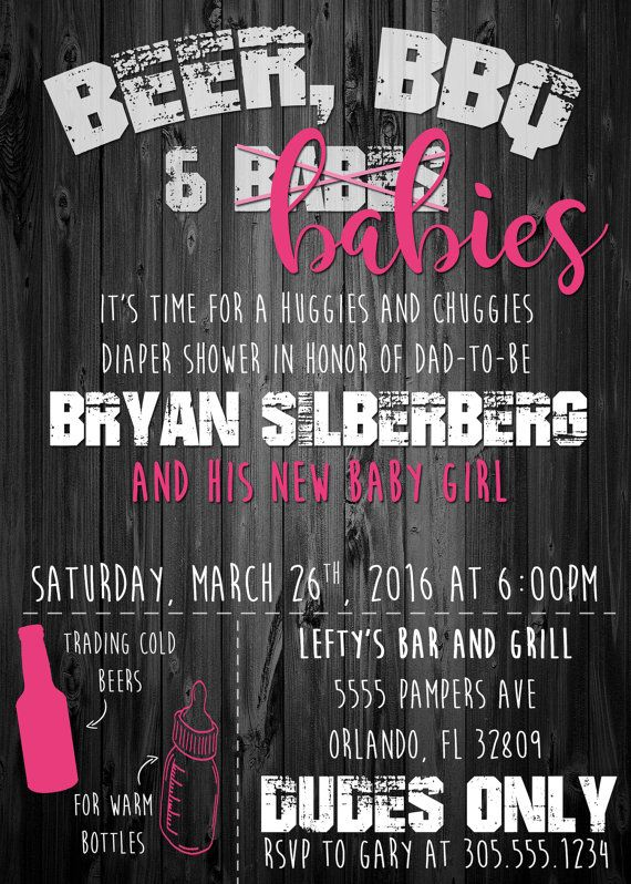 Men's Only Baby Shower Invitation Beer BBQ by SimplyKayleeDesigns