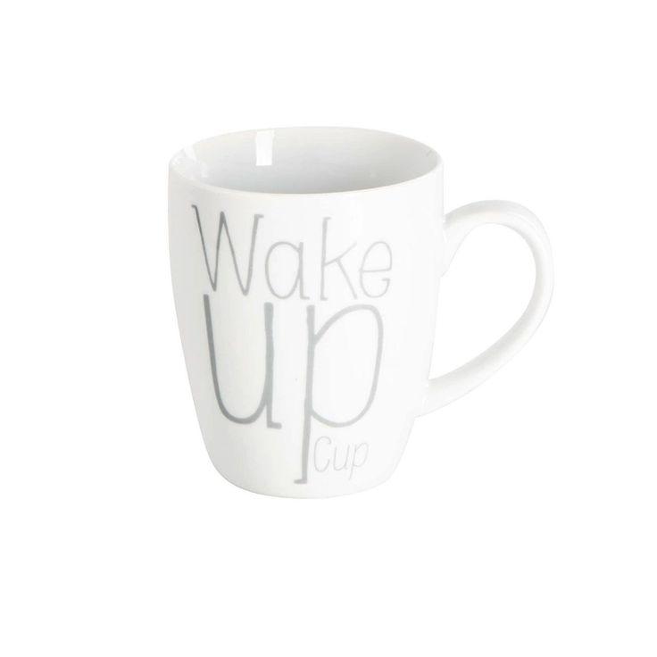 Kaffeebecher mit Spruch, hellgrau
