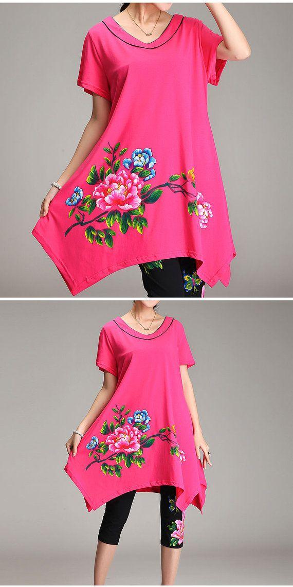 Pretty Hand Painted Peony Cotton Dress Personality by PlusDress
