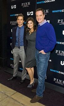 Actors Matt Bomer, Tiffany Thiessen and Tim DeKay visit the White Collat Shirt Bar at The Channel Gardens at Rockefeller Center on October 23, 2009 in New York City.