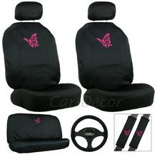 Simple and elegant, black car seat cover set decorated with delicate pink butterflies. Available at CaDecor.com.