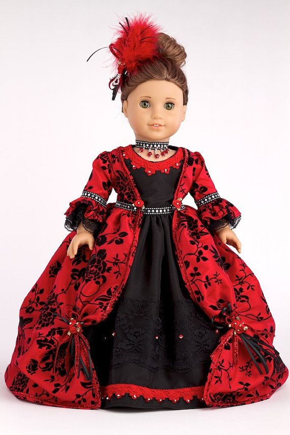 The Duchess - Red and black gown with petticoat, shoes, headpiece and necklace