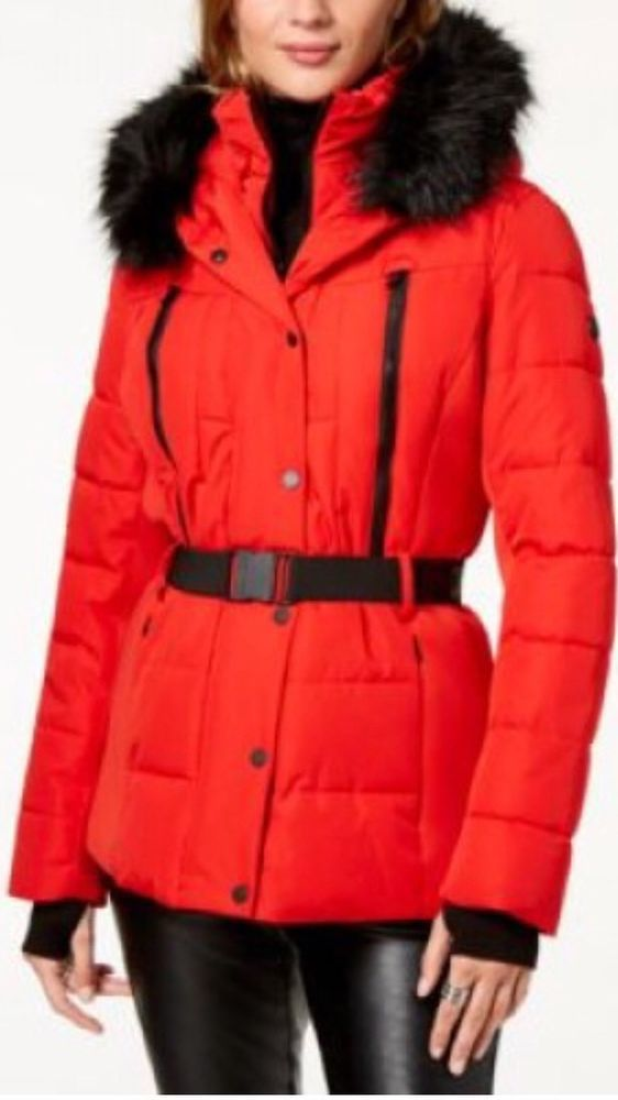 9f0836175e6 MICHAEL Michael Kors Belted Faux-Fur-Trim Puffer Coat Red X-Large  fashion   clothing  shoes  accessories  womensclothing  coatsjacketsvests (ebay link)