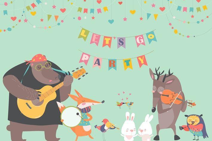 Cute Animal Music Band Cartoon Animals Playing By Masastarus On Envato Elements Cartoon Animals Cute Animals Vector Illustration
