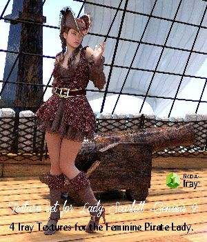 Four Texture sets for Lady Scarlett for Genesis 2. These romantic and beaufitul textures is ideal for the feminine pirate lady.  The textures have been designed for Iray but can also be used with 3Delight.  The sets are:  Adis; Etta; Bridget; Mabell.