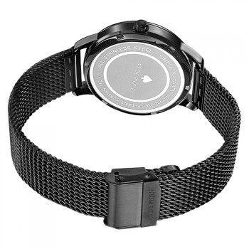 AS DE PIQUE Simple XII Unisex Uhr Sekundenanzeige schwarz Mesharmband 50m wasserdicht