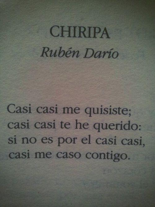 """Escogí estas estrofas del poema """"Chiripa"""" porque se refleja la utilización de las técnicas narrativas del propio Rubén Darío. Gran autor del modernismo , conocido por mucha gente mundialmente."""