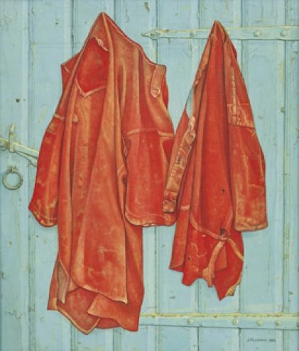 "Jopie Huisman ~ ""Roodbaaien hemden op blauwe deur"" (1984) oil on canvas *Red shirts on blue door* via Dutch Art Store"
