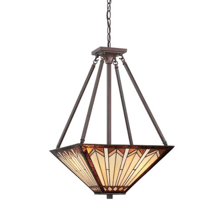 """This Craftsman 3-light 16"""" russet pendant is sure to enhance any decor. - Color finish: russet - Shade description: Tiffany-style glass - Included accessories: mounting hardware - Number of bulbs requ"""