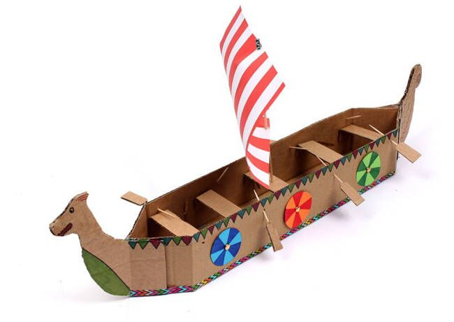 Simple Viking Longboat Papercraft for Kids Free Template Download - http://www.papercraftsquare.com/simple-viking-longboat-papercraft-for-kids-free-template-download.html#Ship, #Viking, #VikingLongship