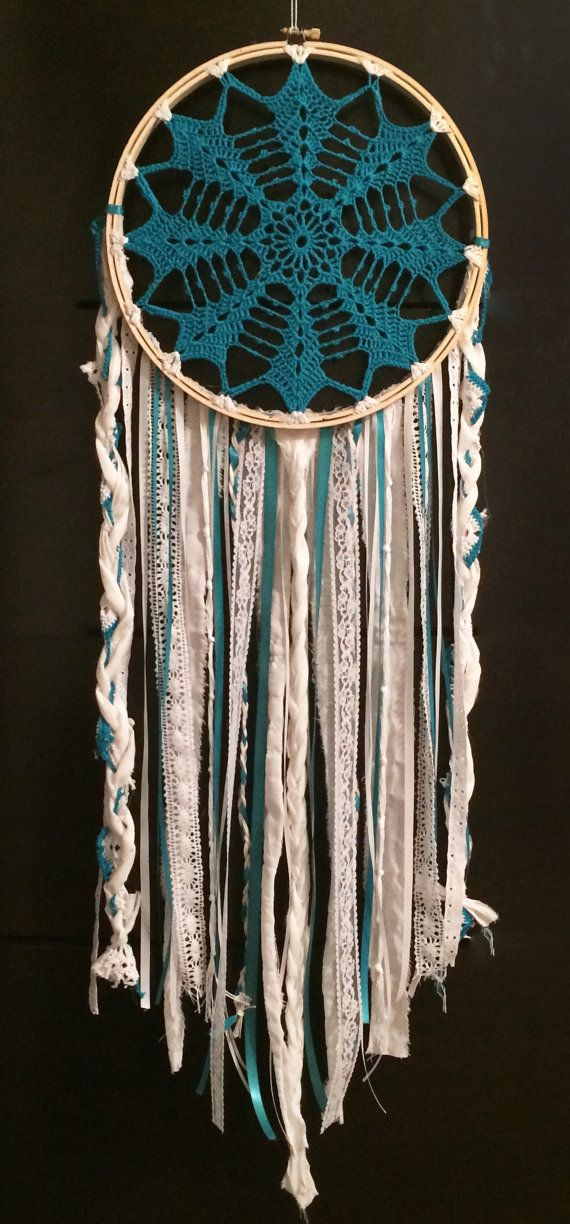 10 teal crochet doily dream catcher one of a kind by TheNativePath
